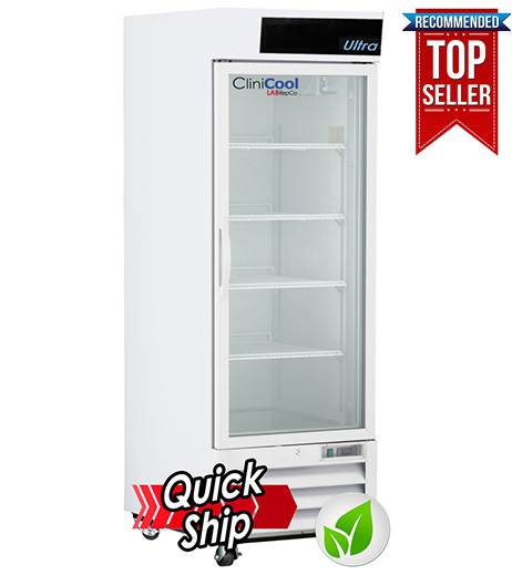 CliniCool© Ultra Series 23 Cu. Ft. Hinged Glass Door Pharmacy/Vaccine Refrigerator