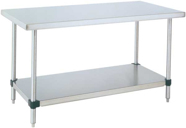 HD Super™ Stainless Steel Work Table with Galvanized Bottom Shelf – 30″ W x 72″ L