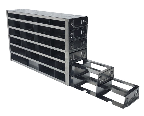 Upright Freezer Rack with Drawers for Fiberboard & Polycarbonate 2″ Boxes for Panasonic Upright Freezers- Rack Only- 4 Boxes Deep x 6 Boxes High (side access)