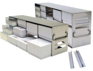 "Modifiable Upright Freezer Racks for 2"" & 3"" Standard Boxes"
