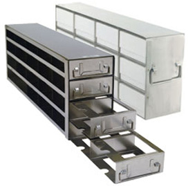 "Upright Freezer Racks for 2"" Boxes"