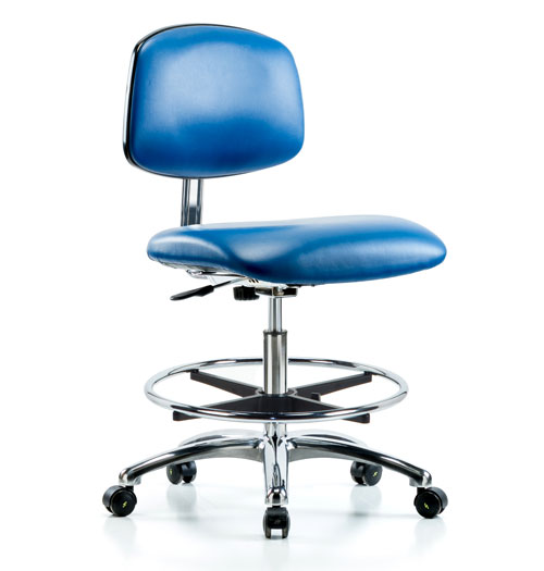 Class 10 Clean Room/ESD Vinyl Chair – Medium Bench Height with Chrome Foot Ring & ESD Casters | Blue
